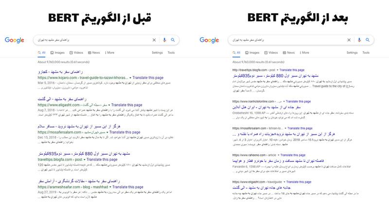 تغییرات الگوریتم برت B.E.R.T در زبان فارسی