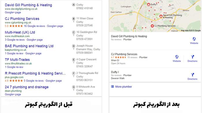 تغییر نمایش لوکال پک های گوگل بعد از الگوریتم pigeon