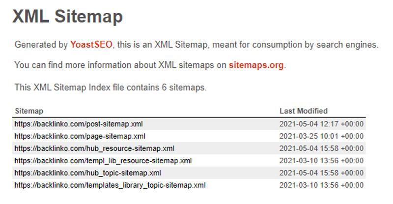 نمونه نقشه سایت ایجاد شده توسط پلاگین وردپرسی یواست سئو
