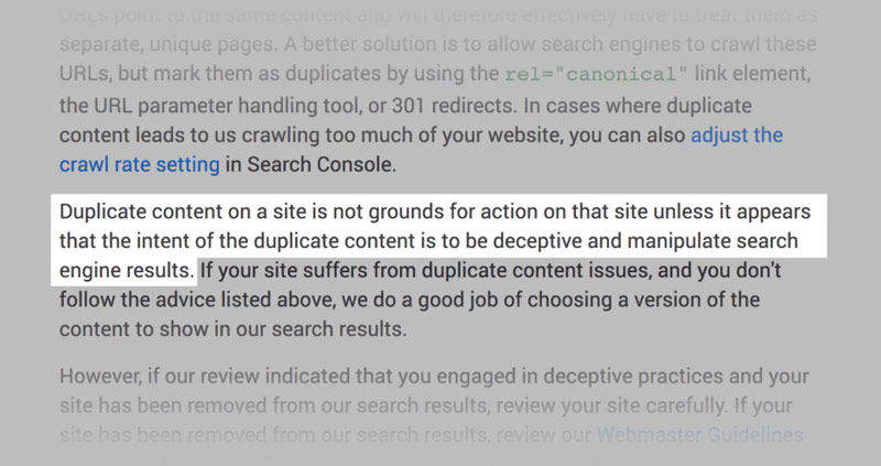 پنالتی سایت به علت duplicate content